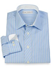 Non-Iron 100% Cotton Stripe Spread Collar Sport Shirt