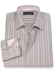 100% Cotton Stripe Spread Collar Sport Shirt