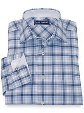 100% Cotton Plaid Cutaway Collar Sport Shirt