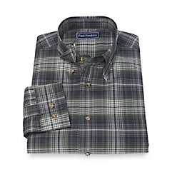 1950s Style Mens Shirts 100 Cotton Plaid Hidden Button Down Collar Sport Shirt $40.00 AT vintagedancer.com