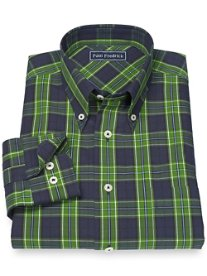 100% Cotton Plaid Button Down Collar Sport Shirt