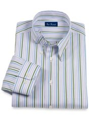 Italian Cotton Stripe Hidden Button Down Collar Trim Fit Sport Shirt