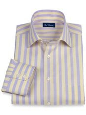 Italian Cotton Stripe Spread Collar Trim Fit Sport Shirt