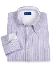 100% Linen Stripe Hidden Button Down Collar Trim Fit Sport Shirt