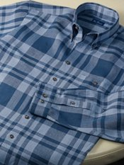 100% Linen Plaid Button Down Collar Trim Fit Sport Shirt