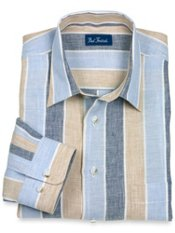 100% Linen Wide Stripe Straight Collar Sport Shirt