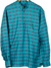 100% Linen Check Band Collar Pullover Sport Shirt