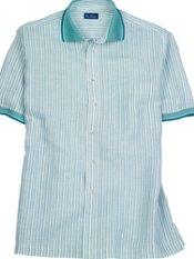 Linen & Cotton Stripe Knit Collar Trim Fit Short Sleeve Sport Shirt