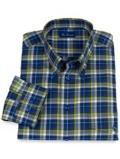 100% Cotton Plaid Button Down Collar Trim Fit Sport Shirt