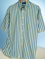 100% Cotton Stripe Button Down Collar Trim Fit Short Sleeve Sport Shirt