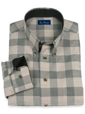 100% Cotton Plaid Button Down Collar Sport Shirt
