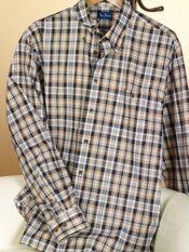 100% Cotton Plaid Hidden Button Down Collar Sport Shirt