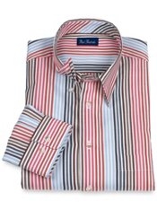 100% Cotton Stripe Hidden Button Down Collar Trim Fit Sport Shirt