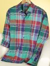 100% Cotton Plaid Straight Collar Trim Fit Sport Shirt with Epaulets