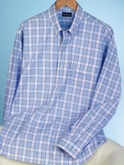100% Cotton Plaid Button Down Collar Pullover Sport Shirt