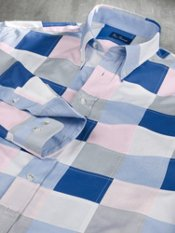 100% Cotton Patchwork Button Down Collar Trim Fit Sport Shirt