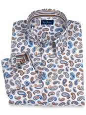 100% Cotton Paisley Hidden Button Down Collar Trim Fit Sport Shirt