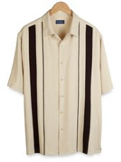 100% Silk Front Panel Short Sleeve Camp Shirt