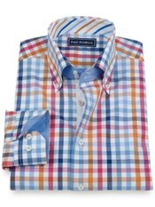 100% Cotton Check Button Down Collar Trim Fit Sport Shirt