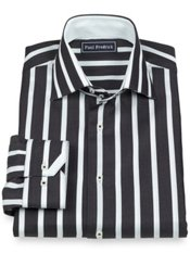 100% Cotton Stripe Spread Collar Trim Fit Sport Shirt