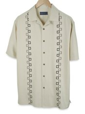100% Silk Embroidered Short Sleeve Camp Shirt