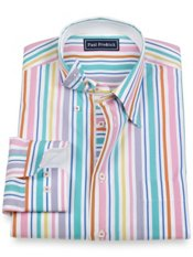 100% Cotton Stripe Hidden Button Down Collar Sport Shirt