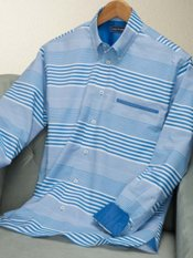 100% Cotton Stripe Button Down Collar Sport Shirt