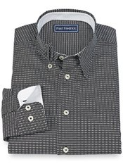 100% Cotton Diamond Print Hidden Button Down Collar Sport Shirt