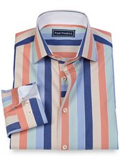 100% Cotton Stripe Spread Collar Sport Shirt