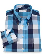Non-Iron 100% Cotton Plaid Button Down Collar Sport Shirt