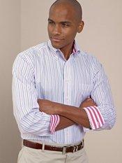 Non-Iron 100% Cotton Stripe Button Down Collar Trim Fit Sport Shirt