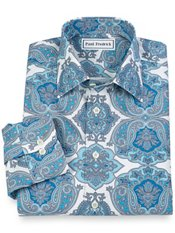 Non-Iron 100% Cotton Paisley Spread Collar Sport Shirt