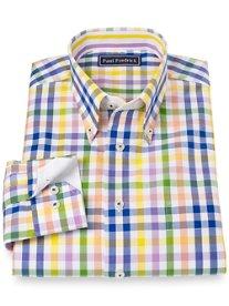 Slim Fit 100% Cotton Check Button Down Collar Sport Shirt