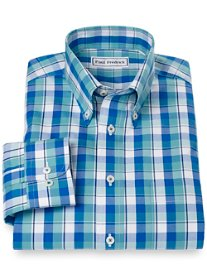 Non-Iron 100% Cotton Plaid Button Down Collar Sport Shirt