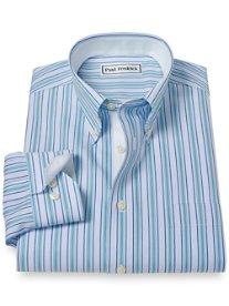 Non-Iron 100% Cotton Stripe Button Down Collar Sport Shirt