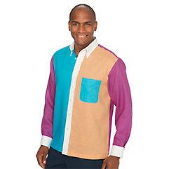 1960s Style Men's Clothing Linen Panel Sport Shirt $60.00 AT vintagedancer.com