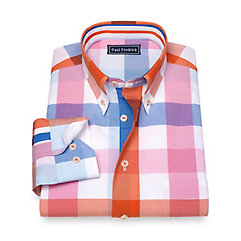 1950s Style Mens Shirts Cotton Check Sport Shirt $50.00 AT vintagedancer.com