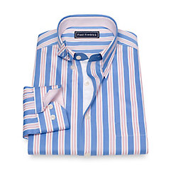 Edwardian Men's Shirts & Sweaters Slim Fit Cotton Stripe Sport Shirt $70.00 AT vintagedancer.com