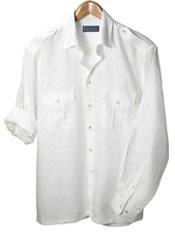 100% Linen Straight Collar Sport Shirt with Epaulets