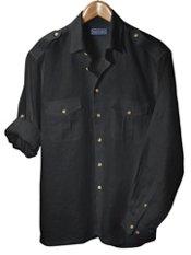 100% Linen Straight Collar Sport Shirt with Epaulets