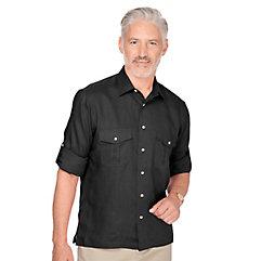 100 Linen Straight Collar Sport Shirt $40.00 AT vintagedancer.com