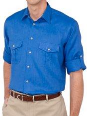 100% Linen Straight Collar Sport Shirt