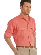 100% Linen Straight Collar Sport Shirt