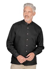 100% Linen Band Collar Sport Shirt