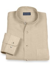 100% Linen Band Collar Sport Shirt