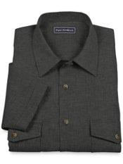 Linen Camp Collar Cuffed Short Sleeve Sport Shirt