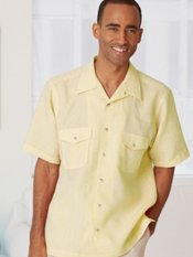 Linen Camp Collar Cuffed Short Sleeve Sport Shirt