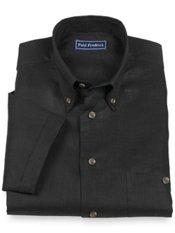 Linen Button Down Cuffed Short Sleeve Sport Shirt