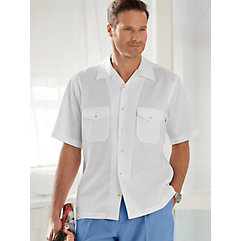 100 Linen Camp Collar Short Sleeve Sport Shirt $40.00 AT vintagedancer.com