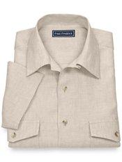 100% Linen Camp Collar Short Sleeve Sport Shirt